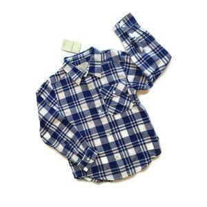 Lucky Brand Shirt Blue & White Plaid Button Down